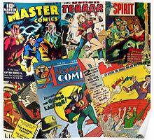Cartoon Comics Magazine Collage Retro Marvel Poster