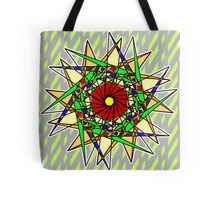 Abstract Pinwheel Triangles in Orange, Green, Red Tote Bag