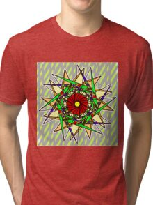 Abstract Pinwheel Triangles in Orange, Green, Red Tri-blend T-Shirt