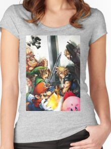super smash bros link cloud mario kirby DK Women's Fitted Scoop T-Shirt
