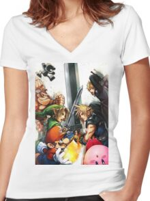 super smash bros link cloud mario kirby DK Women's Fitted V-Neck T-Shirt