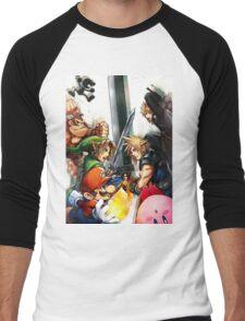 super smash bros link cloud mario kirby DK Men's Baseball ¾ T-Shirt