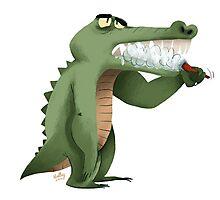 Brushing teeth crocodile Photographic Print