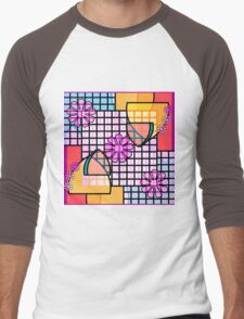 Abstract Flowers, Grids, and Badges in Pink, Blue, Gold Men's Baseball ¾ T-Shirt