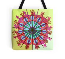 Abstract Spiked Flower Wheel in Blue, Yellow, Pink, Purple Tote Bag