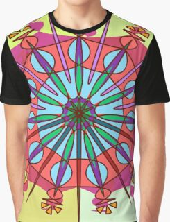 Abstract Spiked Flower Wheel in Blue, Yellow, Pink, Purple Graphic T-Shirt