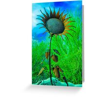 Metal Sunflower Art Sculpture  Greeting Card