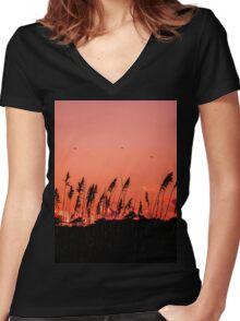 Dragonflies Over Dune Grass Women's Fitted V-Neck T-Shirt
