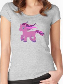 glitter purple pony Women's Fitted Scoop T-Shirt