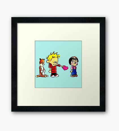 Calvin Hobbes Love Framed Print