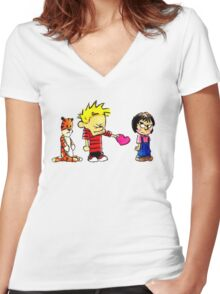 Calvin Hobbes Love Women's Fitted V-Neck T-Shirt