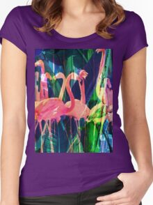 Flamingo Dance Women's Fitted Scoop T-Shirt
