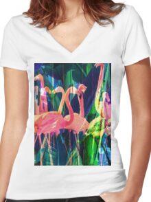 Flamingo Dance Women's Fitted V-Neck T-Shirt