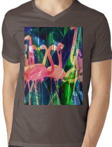 Flamingo Dance Mens V-Neck T-Shirt
