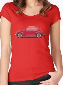 1968 Volkswagen Beetle Sedan - Royal Red Women's Fitted Scoop T-Shirt