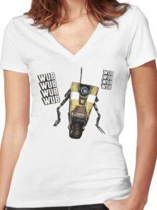 Borderlands Claptrap, wub, wub, wub! ;) Women's Fitted V-Neck T-Shirt