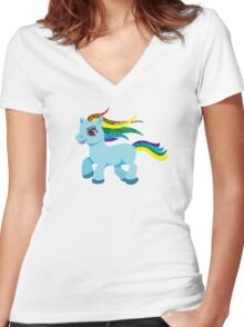 blue rainbow pony Women's Fitted V-Neck T-Shirt