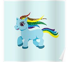 blue rainbow pony Poster