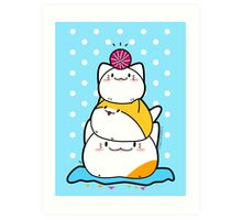 Kawaii Cat Aiko With Yarn Ball & Friends Art Print