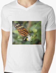 Orange Butterfly on White Flower Mens V-Neck T-Shirt