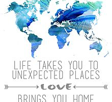Watercolor World Map Life and Love Quote in Gray by Emilyn Frohn