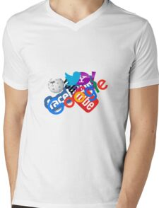 Internet Stuff | Google | YouTube | Yahoo | Wikipedia | Twitter | Facebook | Geek Stuff Mens V-Neck T-Shirt