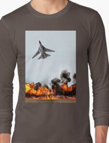 F111 with Fire, Adelaide Air Show  Long Sleeve T-Shirt