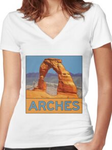 Arches National Park - Delicate Arch - Moab Utah Women's Fitted V-Neck T-Shirt