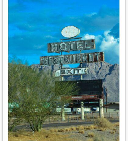 Motel Restaurant Exit Old Beat up Sign Sticker