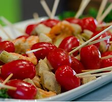 Shrimp-tomato and-artichoke skewers  by Michael Moriarty