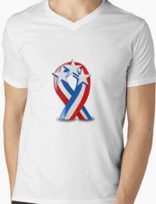 Patriotic Ribbon Mens V-Neck T-Shirt