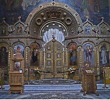 Iconstatasis, St Nicholas Russian Church, Bucharest Romania by Margaret  Hyde