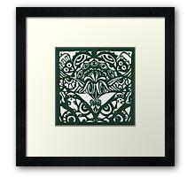 Eyes Lino Cut Dk Olive Green Monoprint Framed Print