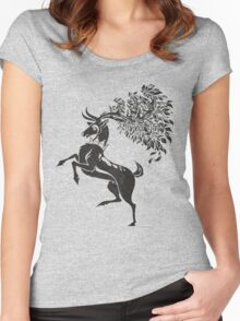 Pokemon / Game of Thrones: Sawsbuck / Baratheon Women's Fitted Scoop T-Shirt