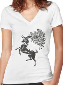 Pokemon / Game of Thrones: Sawsbuck / Baratheon Women's Fitted V-Neck T-Shirt