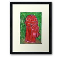 Fire Engine Red Fire Hydrant Framed Print