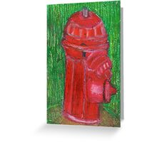 Fire Engine Red Fire Hydrant Greeting Card