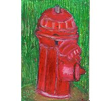 Fire Engine Red Fire Hydrant Photographic Print
