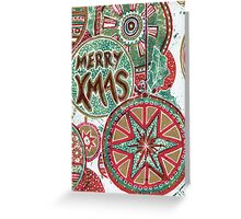Xmas Baubles 29 Merry Xmas -  Gelli Plate Print and Ink Greeting Card