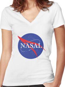 Nasal NASA Women's Fitted V-Neck T-Shirt