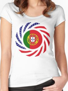 Portuguese American Multinational Patriot Flag Series Women's Fitted Scoop T-Shirt