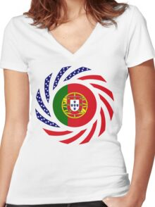 Portuguese American Multinational Patriot Flag Series Women's Fitted V-Neck T-Shirt