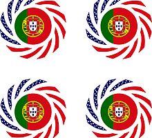 Portuguese American Multinational Patriot Flag Series by Carbon-Fibre Media