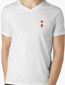 Semicolon; Red Mens V-Neck T-Shirt