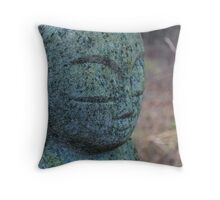 Zen Stone Buddha Statue in Forest Throw Pillow