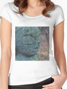 Zen Stone Buddha Statue in Forest Women's Fitted Scoop T-Shirt