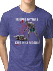 Conor McGregor 13 Second Knock Out of Jose Aldo (blood splatter) Tri-blend T-Shirt