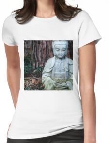 Zen Buddha Statue in Forest Womens Fitted T-Shirt