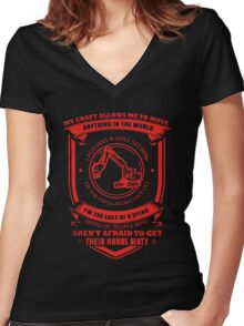 Heavy Equipment Operator T-shirt Women's Fitted V-Neck T-Shirt