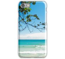 Longboard waves at First Point, Noosa : Light blue & green iPhone Case/Skin